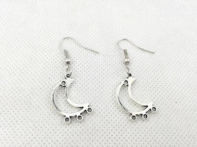 New 1 pair Free Fashion Antique silver Jewelry style earring Jeweller Moon