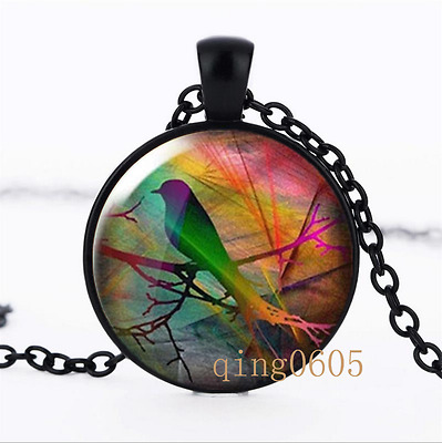 starling on branch Photo Glass Dome black Chain Pendant Necklace wholesale