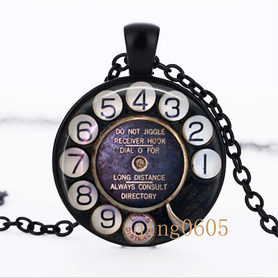 Phone Rotary Dial photo Glass Dome black Chain Pendant Necklace wholesale