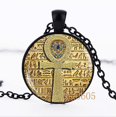 Egyptian ankh cross photo Glass Dome black Chain Pendant Necklace wholesale