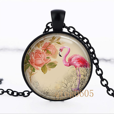 Flamingo Tropical art photo Glass Dome black Chain Pendant Necklace wholesale