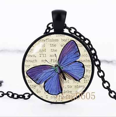 Blue butterfly necklace Insect Glass Dome black Chain Pendant Necklace wholesale