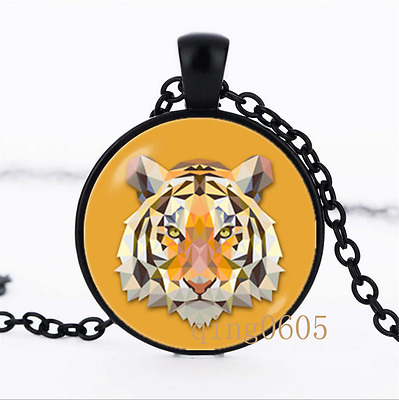 Tiger head necklace Owl lovers Glass Dome black Chain Pendant Necklace wholesale