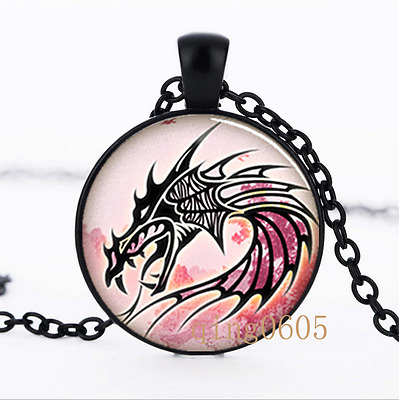 Dragon charm Pendant photo Glass Dome black Chain Pendant Necklace wholesale