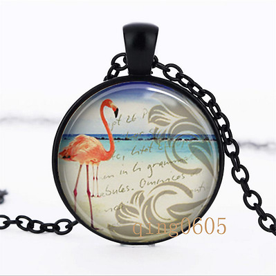 Flamingo Tropical photo Glass Dome black Chain Pendant Necklace wholesale