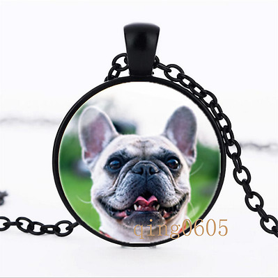 French bulldog necklace Glass Dome black Chain Pendant Necklace wholesale