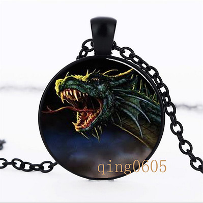 Dragon Handcrafted Necklace Glass Dome black Chain Pendant Necklace wholesale