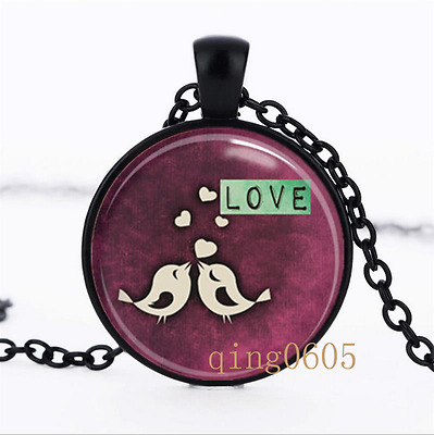 Valentine's Day Love Birds Glass Dome black Chain Pendant Necklace wholesale
