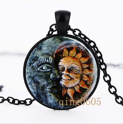 Sun and Moon photo Glass Dome black Chain Pendant Necklace wholesale