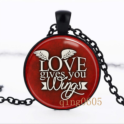 Love gives you wings photo Glass Dome black Chain Pendant Necklace wholesale