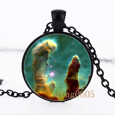 Galaxy necklace Nebula photo Glass Dome black Chain Pendant Necklace wholesale