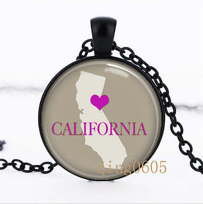 US State Map .California Heat  Glass Dome black Chain Pendant Necklace wholesale