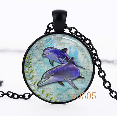 Dolphins Ocean lover photo Glass Dome black Chain Pendant Necklace wholesale