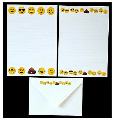 Emoji Emojis Smiles Smiley Faces Letter Writing Paper Stationery Set