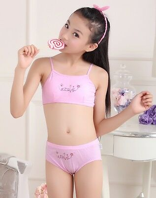 Puberty Girl Cotton Soft Bra+Pant Student Underwear Set Fasteners Brassiere