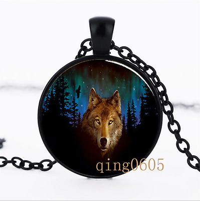 Northern Lights Wolf  photo Glass Dome black Chain Pendant Necklace wholesale