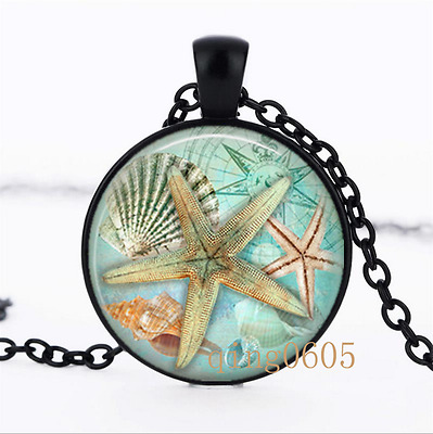 Starfish Art Necklace photo Glass Dome black Chain Pendant Necklace wholesale