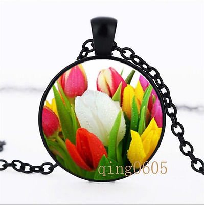 Colorful World Tulip Bouquet Glass Dome black Chain Pendant Necklace wholesale