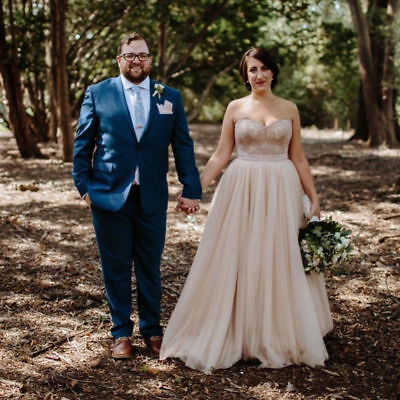 Champagne Sweetheart Lace Tulle Wedding Dress Bridal Gown Custom Plus Size+