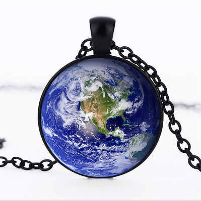 earth surface Photo Glass Dome black Chain Pendant Necklace,Wholesale