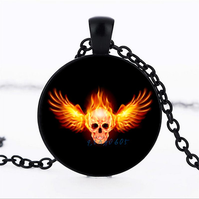 winged skull flame Photo Glass Dome black Chain Pendant Necklace,Wholesale
