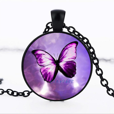 Purple Butterfly photo Glass Dome black Chain Pendant Necklace,Wholesale