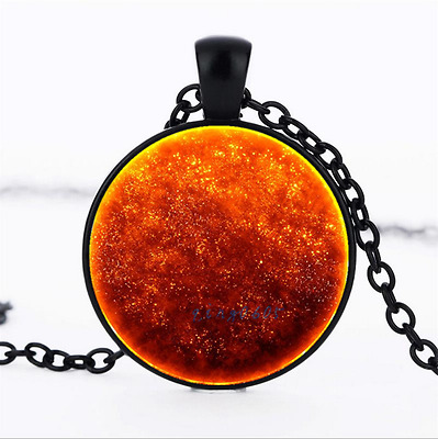 Flame Nebula Photo Glass Dome black Chain Pendant Necklace,Wholesale