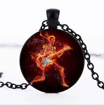 guitar skull flame Photo Glass Dome black Chain Pendant Necklace,Wholesale