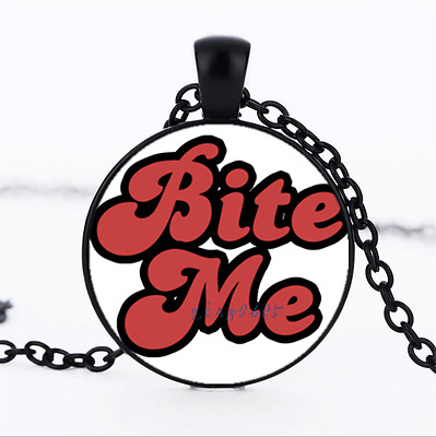 Bite Me Red Text Photo Glass Dome black Chain Pendant Necklace,Wholesale