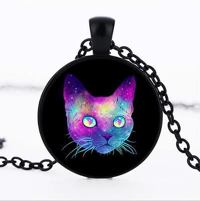 1 pcs Galaxy Cat Photo Glass Dome black Chain Pendant Necklace,Wholesale