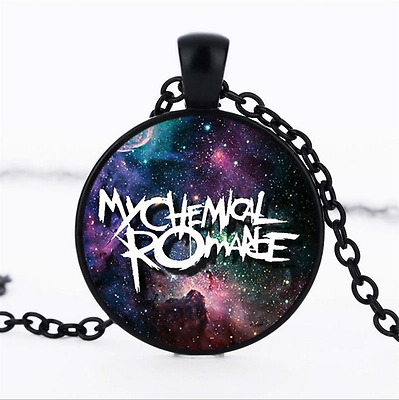 My Chemical Romance Photo Glass Dome black Chain Pendant Necklace,Wholesale
