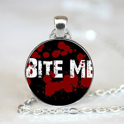 Bite Me Graphics photo Glass Dome Tibet silver Chain Pendant Necklace,Wholesale