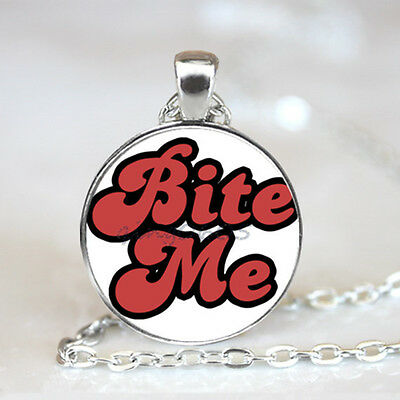 Bite Me Red Text photo Glass Dome Tibet silver Chain Pendant Necklace,Wholesale