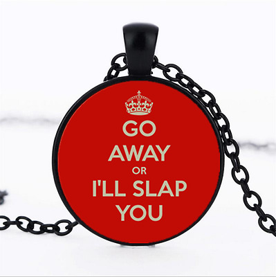 GO AWAY OR Photo Glass Dome black Chain Pendant Necklace,Wholesale