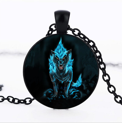 Wolf Photo Glass Dome black Chain Pendant Necklace,Wholesale