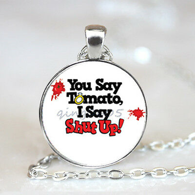 I Say Shut Up photo Glass Dome Tibet silver Chain Pendant Necklace,Wholesale