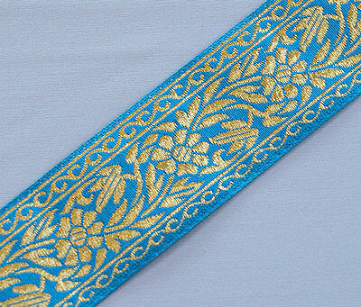 """Purple Flowers  3¾/"""" wide 3 yards Wide Jacquard Ribbon Trim with Rose Turquoise"""
