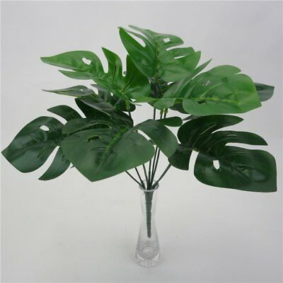 Artificial Fake Green Monstera Palm Tree Leaf Simulation Plant Home Decor