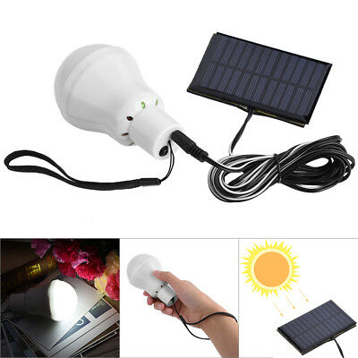 Portable Solar Powered LED Rechargeable Bulb Light Outdoor Camping Yard Lamp GL