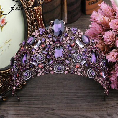 9cm High Luxury Large Purple Crystal Tiara Wedding Party Pageant Prom Crown USA