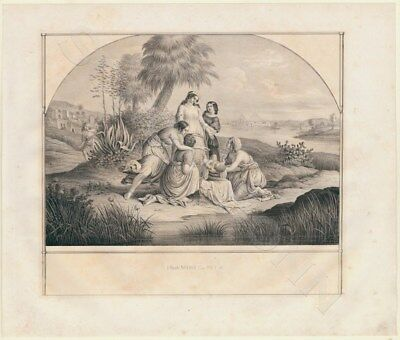 Lithographie 1840 Exodus Die Tochter des Pharao rettet Moses  Mose