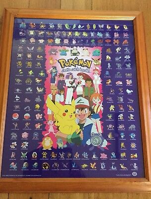 1xPokémon Framed Wall Picture Poster,Like New.150 Pokémon Characters.