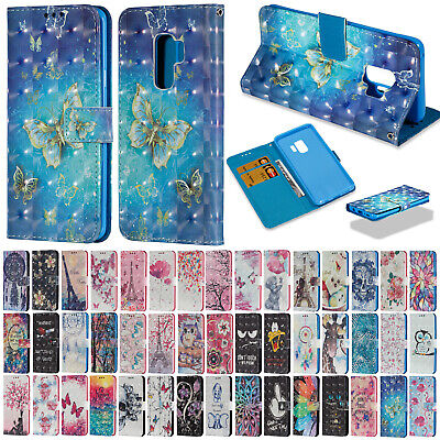 For Samsung S10 5G S9/S9 Plus 3D Patterned Flip Leather Wallet Case Stand Cover