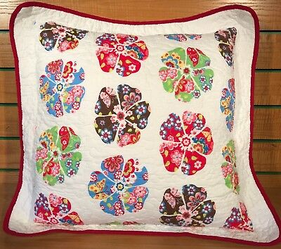 TWINPACK Vintage Retro Fashion 55 x 55cm Funky Cushion Cover White Red Floral
