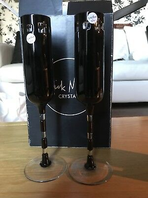 "Pair Of Signed Nick Munro ""eclipse"" Black Tyrone Crystal Champagne Flutes"