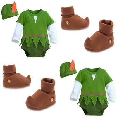 Disney Store Peter Pan Baby Bodysuit Costume Shoes Dress Up Hat Hook Halloween