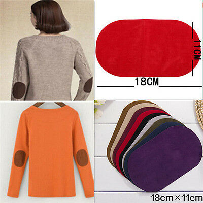 2PCS Suede Leather Iron-on Oval Elbow Knee Patches Repair Sewing Applique FO