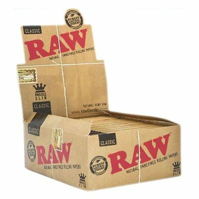 15 Packs x RAW Rolling Papers King Size Slim Classic Natural Unrefined