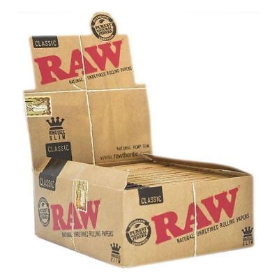 5 Packs x RAW Rolling Papers King Size Slim Classic Natural Unrefined