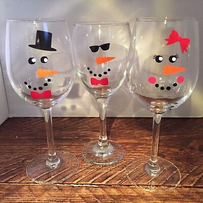 30 Snowman & Snowlady Snowoman vinyl decals stickers Christmas wine glass window